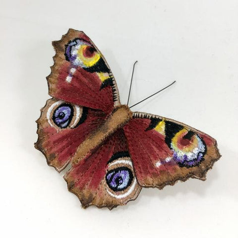 VLD Embroidered Peacock Butterfly Brooch