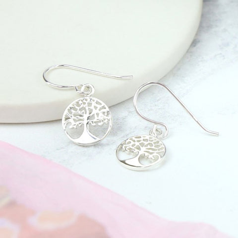 PM Sterling Silver Tree Of Life Earring