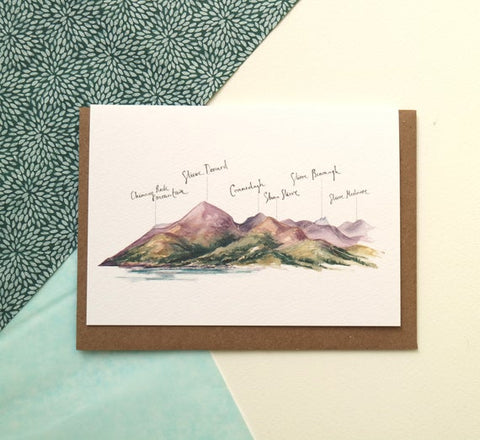 PC Mourne Mountains Percy French Quote Blank Card