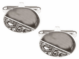 DLCO Rhodium Plated Cufflinks-Oval 1/3 Engraved