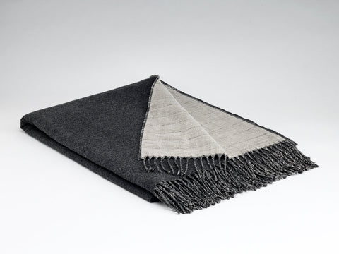 McNutt Linen & Lambswool Throw - Reversible Charcoal