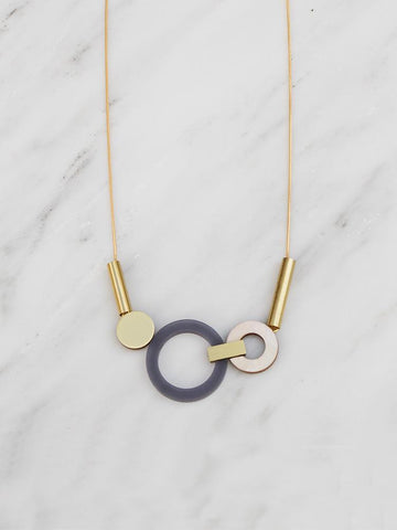 Wolf & Moon Lora Necklace in Navy