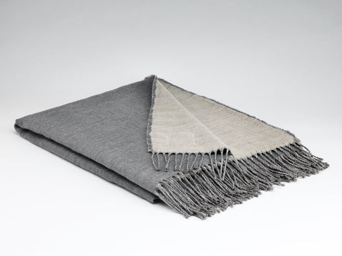 McNutt Linen & Lambswool Throw - Reversible Feather Grey