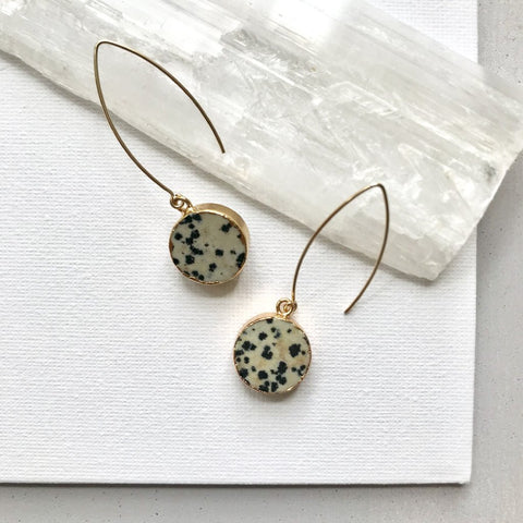 Decadorn Earrings-Mini Circle Dropper- Dalmation Jasper