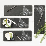 JS Mini Bee Etched Cheese Board & Knife-Set Of 4