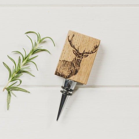 JS Oak Bottle Stopper - Monarch Stag