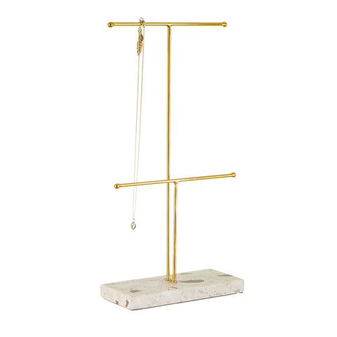S&B Double Terrazzo Gold Jewellery Stand