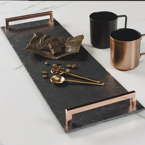 JS Slate Serving Tray Copper Handles(Straight Edge)-LRG