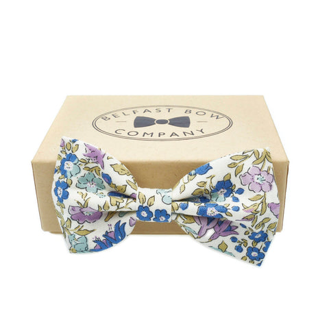Belfast Bow Co Handmade Liberty Of London Bow Tie-White