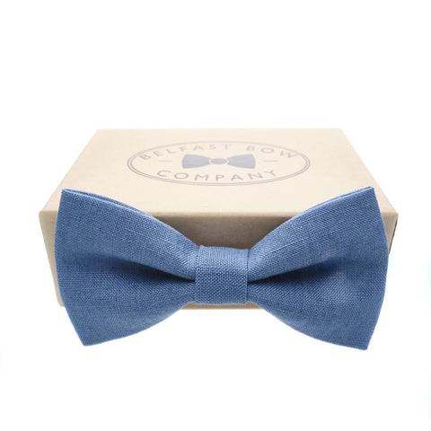 Belfast Bow Co Handmade Irish Linen Bow Tie-Slate Blue