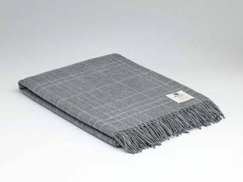 McNutt Lambswool Throw - Supersoft Steel Maze