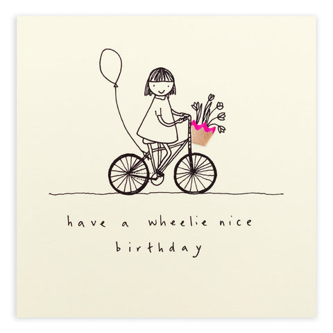 Ruth Jackson Wheelie Nice Birthday Card