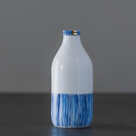 Rebecca Killen Ceramic Milk Bottle Cobalt - Lines