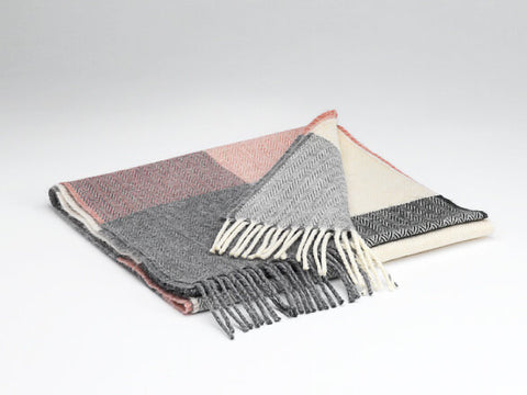 McNutt Lambswool Scarf - Rose & Grey Check