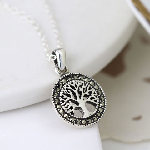 PM Sterling Silver Marcasite Tree Of Life Necklace