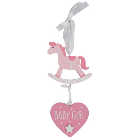 GG Hanging Pink Rocking Horse/Baby Girl Plaque
