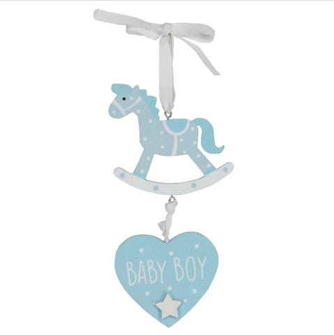 GG Hanging Blue Rocking Horse/Baby Boy Plaque