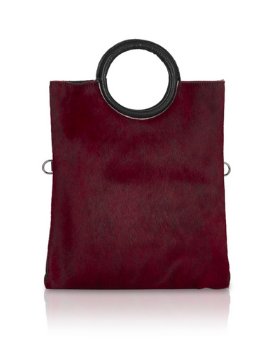 Italian Leather 4 Way Handbag & Pouch-Burgandy