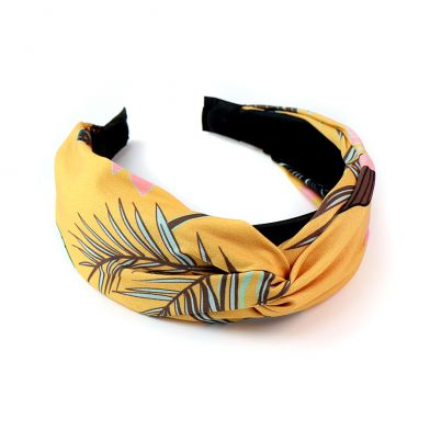 PM Mustard and Taupe Tropical Print Headband