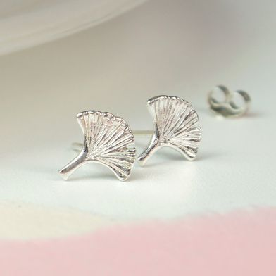PM Sterling Silver Ginkgo Leaf Stud Earrings
