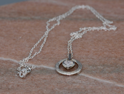 PM Sterling Silver Crystal Heart Circle Necklace