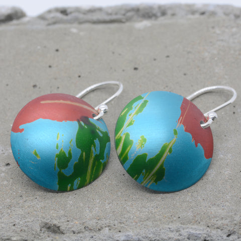 Lisa Marsella Large Domed Disc Earrings - Orange Lime & Turquoise