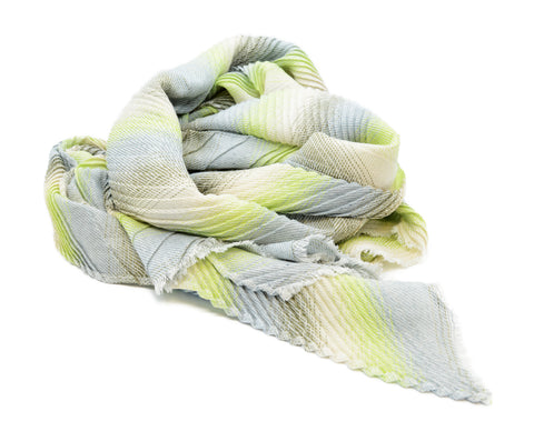 PM Green Mix Striped Chevron Pleat Scarf