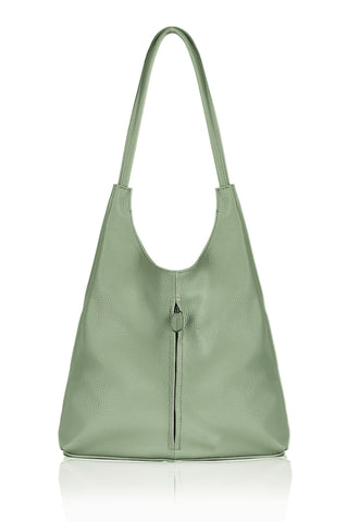 Italian Leather Bag Medium- Light Dusty Green