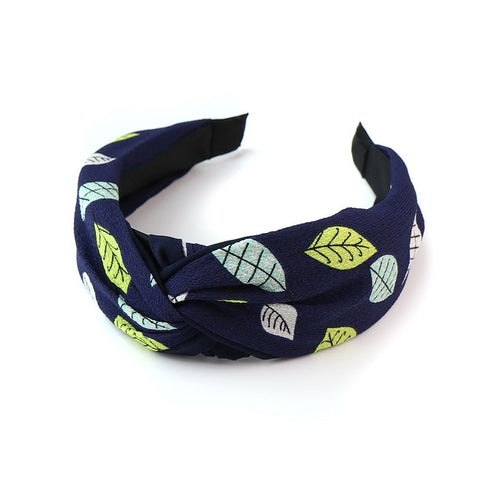 PM Navy Mix Leaf Print Headband