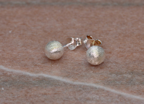 PM Sterling Silver Brushed Ball Stud Earrings