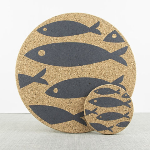 Liga Cork Placemats/Coasters-Fish Grey