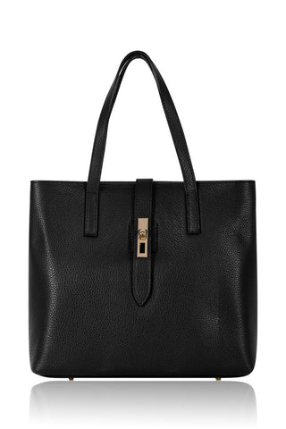Italian Leather Tote Shopper- Black