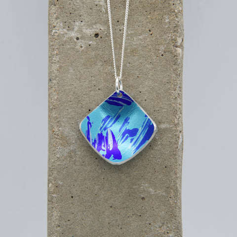 Lisa Marsella Concave Domed Diamond Pendant - Brushed Blue