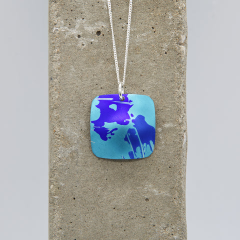 Lisa Marsella Domed Square Pendant - Brushed Blue