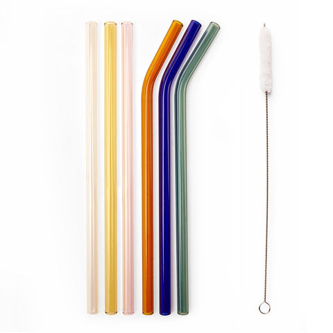 Kikkerland Coloured Reusable Glass Straws