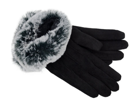 PM Faux Fur Trimmed Felt Gloves-Blk