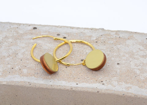 Wolf & Moon Brass Dot Hoops