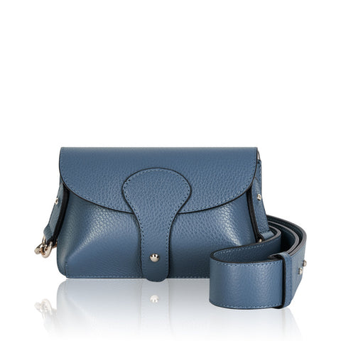 Italian Leather Crossbody Bag-Denim Blue