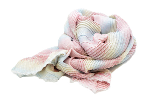 PM Pink Mix Striped Chevron Pleat Scarf
