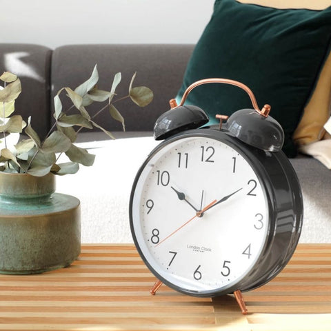 London Clock Oversized Grey Twinbell Alarm Clock