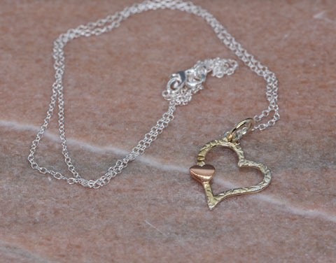 PM Sterling Silver Large Heart With Tiny Rose Heart Necklace