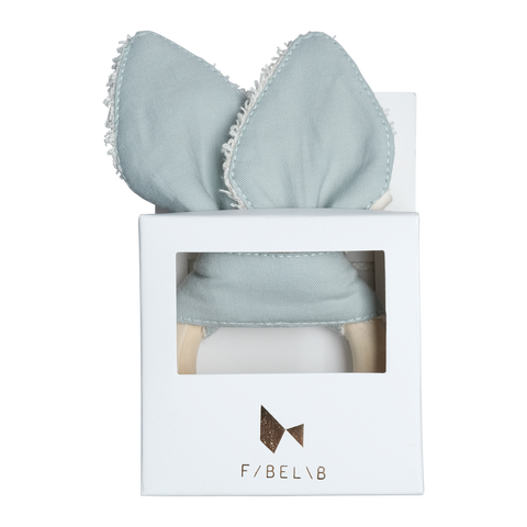KC Organic Cotton Baby Teething Ring - Cat - Foggy Blue