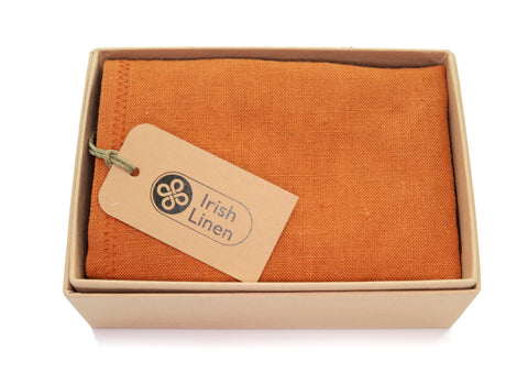 Belfast Bow Co Handmade Irish Linen Pocket Square-Burnt Orange