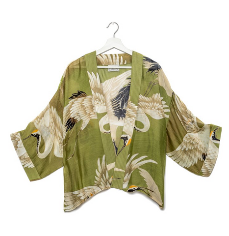 One Hundred Stars Stork Kimono-Green