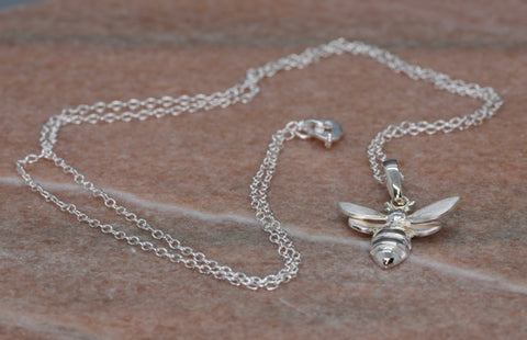 PM Sterling Silver Bee Necklace