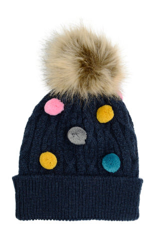 PM Navy Multicolour Small Bobbles Winter Hat