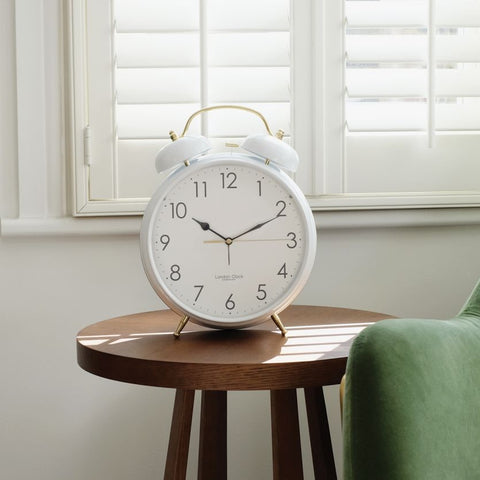 London Clock Oversized White Twinbell Alarm Clock