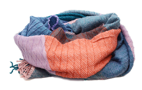 PM Teal & Orange Rippled Winter Scarf