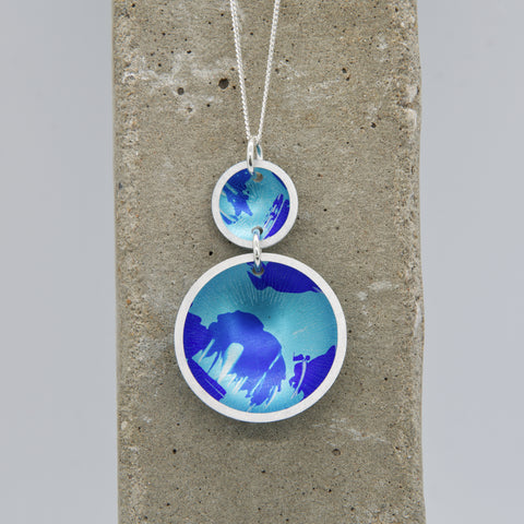 Lisa Marsella Ascending Double Concave Dome Pendant - Brushed Blue