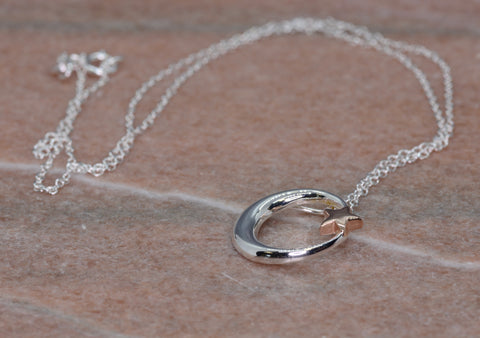 PM Sterling Silver Moon & Star Necklace